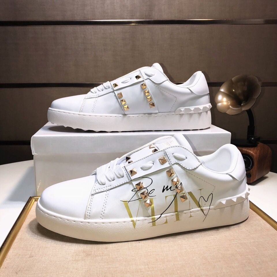68034541e160 Unisex Valentino Garavani Polished Gold Rockstud Untitled White Calfskin  Lace-up Sneakers Trainer Low Price LY0S0931BHS 0BO