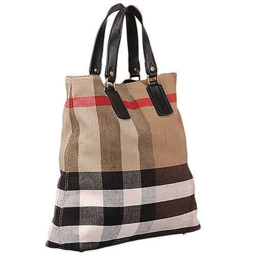 b0d2d2534c78 Classic Burberry Canvas Check Ladies Medium Black Leather Strap Tote Bag