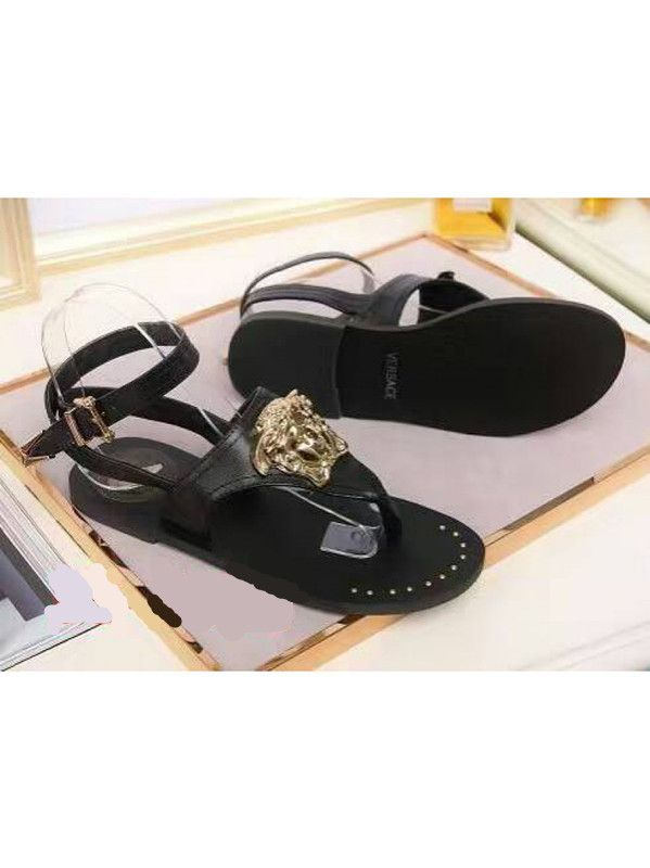 c9f443d9a Versace Palazzo Womens Black Calfskin Leather Ladies Medusa Golden Studs Thong  Sandals For Sale Replica