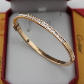 Best Cartier Cuff Bangle Replica Pink Gold Band Set With Diamonds Online India