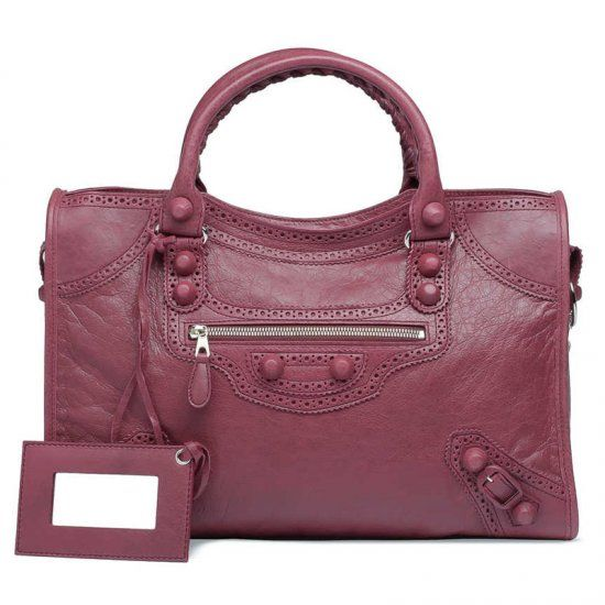 a84bbde1573 Vintage Balenciaga Giant City Burgundy Leather Silver Zipper Pocket Ladies  Brogues Studs Shoulder Bag Replica