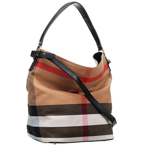 028fbe7fb8e6 Burberry Ashby 39457261 Black Leather Strap Womens Large Volume Canvas  Check Bag