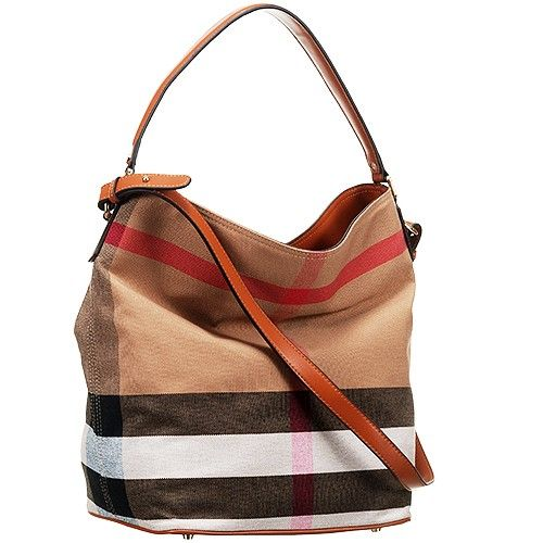 Fake Burberry Ashby Brown Leather Strap Ladies Canvas Check Hobo Bag aa771a7caf43c