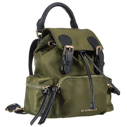 Good Reviews Burberry Rucksack Unisex Green Nylon Backpack Black Leather  Trim 9c20db1f0a87a