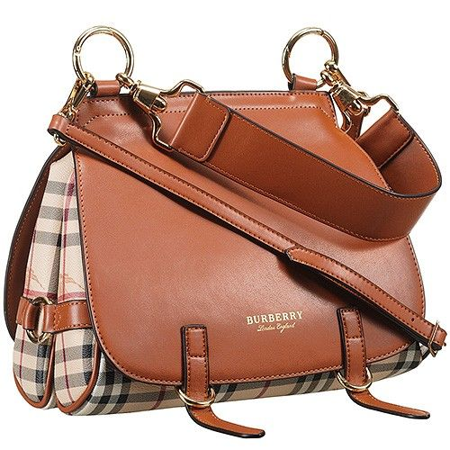 33d7f5cf54ff AAA Burberry Bridle Brown Leather Ladies Haymarket Check Clone Shoulder Bag