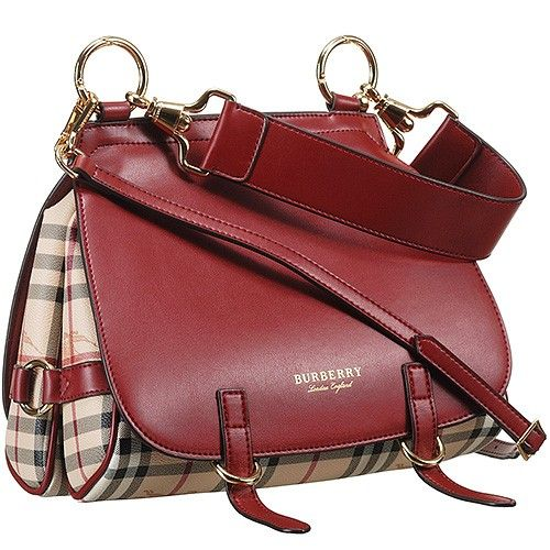 7cd1c1eb9400 Hot Selling Burberry Bridle Haymarket Check Red Leather Female Shoulder Bag