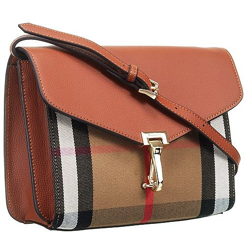 60fcc8fdbbed Burberry 39808261 Macken House Check Gold Hardware Leather Crossbody Bag Tan