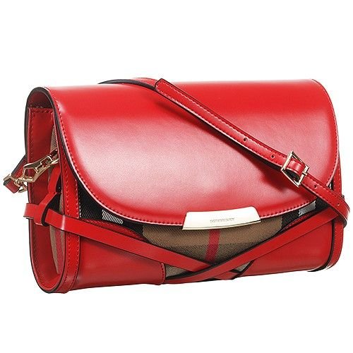 fa8c1b295d69 Women s Burberry Bridle House Check Red Leather Crossbody Bag Summer