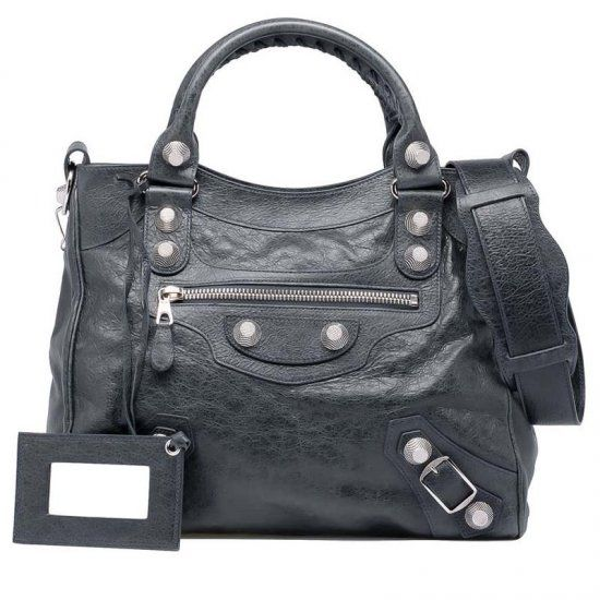 88304ea6b8f6 High Quality Balenciaga Anthracite Leather Silver Studs Wide Shoulder Strap  Womens Giant 21 Velo Handbag