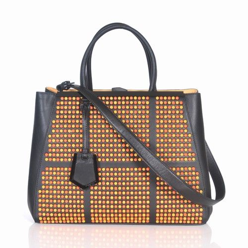Top Sale Fendi 2Jours Black Ferrari Leather Top Handle Ladies Tote Bag  Orange-yellow Studs For Girls bfded121149e6