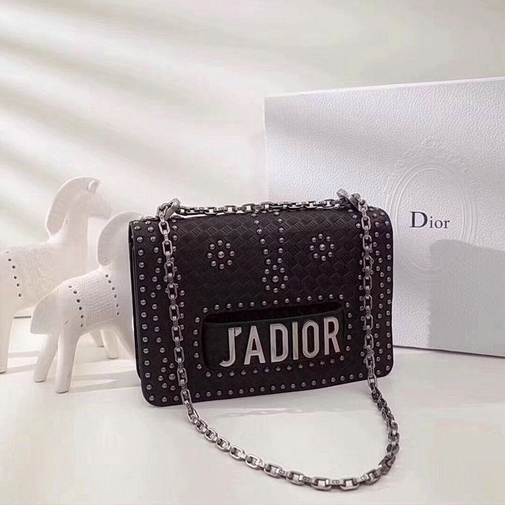 New Style 2018 Replica Dior J ADIOR Black Calfskin Leather Studded Flower  Motif Flap Closure Chain Shouder Bag Price M8000VLAE M47R aa09521e0a412