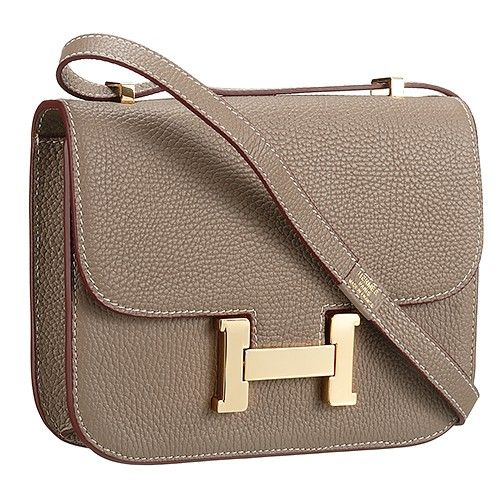 0f06f152682e AAA Quality Golden H Buckle Hermes Constance Womens Flap Grained Leather  Handbag Fluted Base Khaki