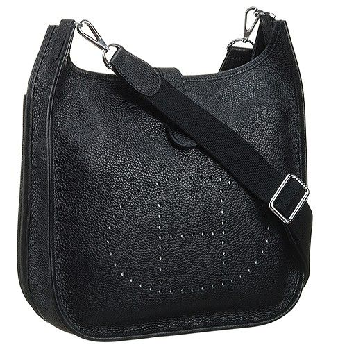 Hermes Black Evelyne H056275ck89 Adjule Strap H Pattern Perforated Plaque Las Shoulder Bag Price Paris