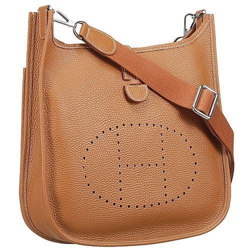 Replica Hermes Tan Evelyne H056275ck37 Leather Lining Curved Base Flap Shoulder Bag Perforated H Pattern