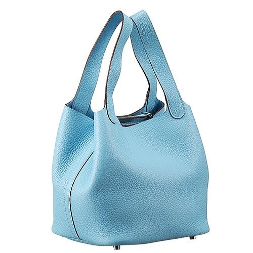 99bb90e1910 Hermes Picotin Ladies Baby Blue Cowhide Leather Bucket Bag Side Belt With  Silver Padlock