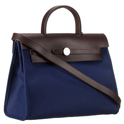 5f381c03919 Hermes Herbag Womens A-Shaped Dark Blue Canvas Tote Bag Dark Coffee Small  Flip-Over Flap Replica