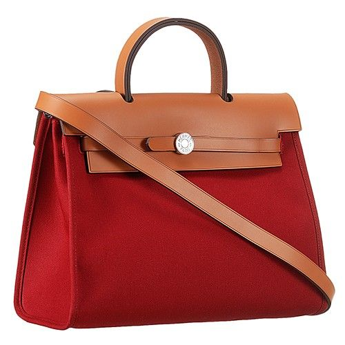 fb847ee6ccd5 Low Price Hermes Dark Red Canvas Handbag Brown Leather Small Flip-over Flap  Silver Hardware