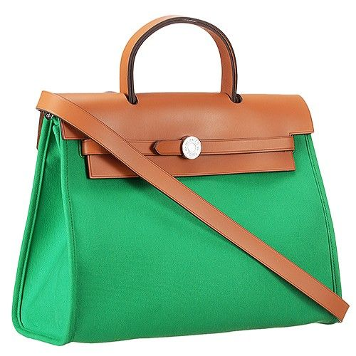 9f816b8cdb3 Women s Hermes Herbag Canvas Wide Base Tote Bag Leather Shoulder Strap Green -Brown Replica