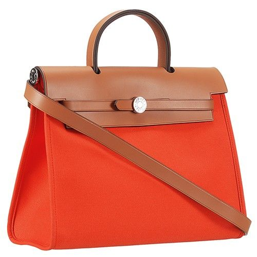 0efc54fe05f Hermes Herbag Canvas-Leather Belt Shoulder Bag Small Flip-over Flap For  Women s Orange - Brown