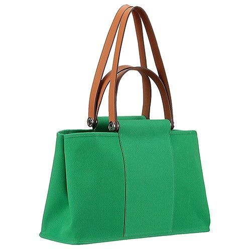 39f59b354009 Fashion Green Hermes Herbag Fake Canvas Totes Brown Leather Flat Handle    Short Shoulder Strap