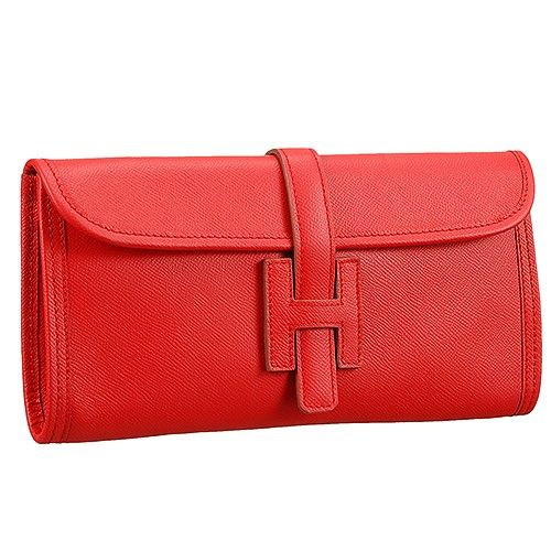 7c5045307843 Hot Selling Hermes Jige Elan Womens Red Leather Long Flap Clutch Bag 29 CM  For Red Carpet