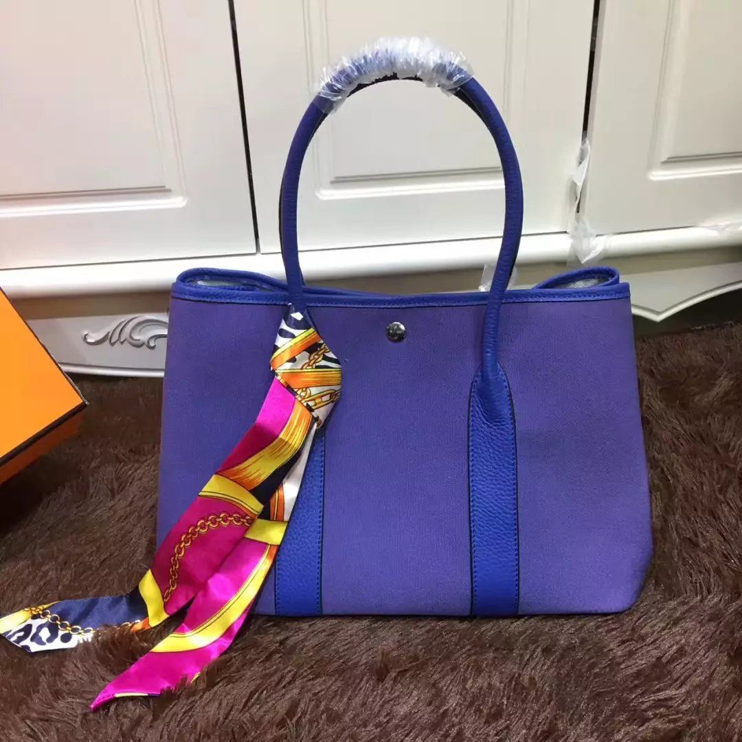 efdcba6f7f1a Hermes Garden Party Ladies Canvas Leather Tote Bag Silk Ribbon
