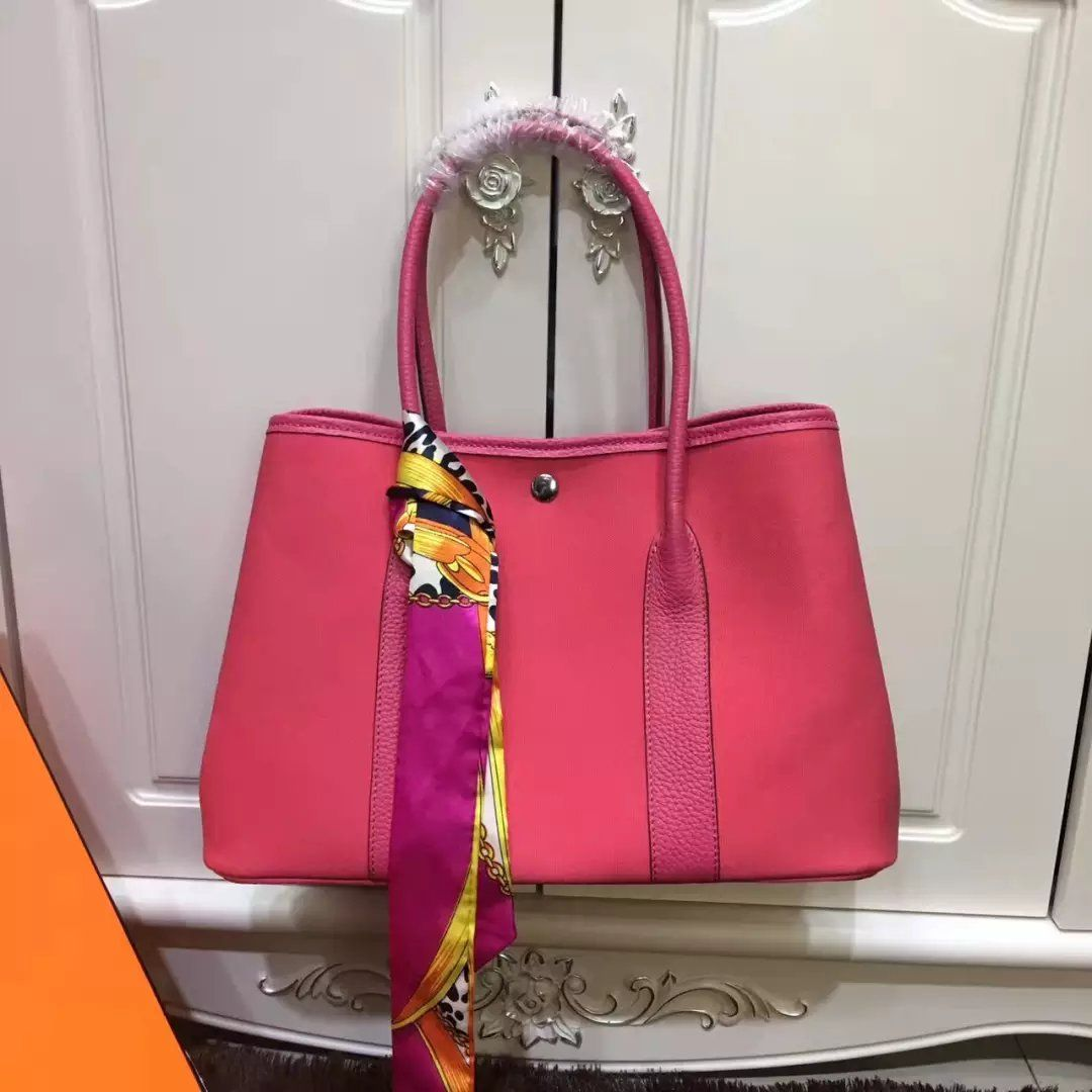 39c406c7066 Hermes Garden Party Womens 36CM Canvas-leather Hot Selling Top Handle Silk  Ribbon Tote Bag Peach-rose