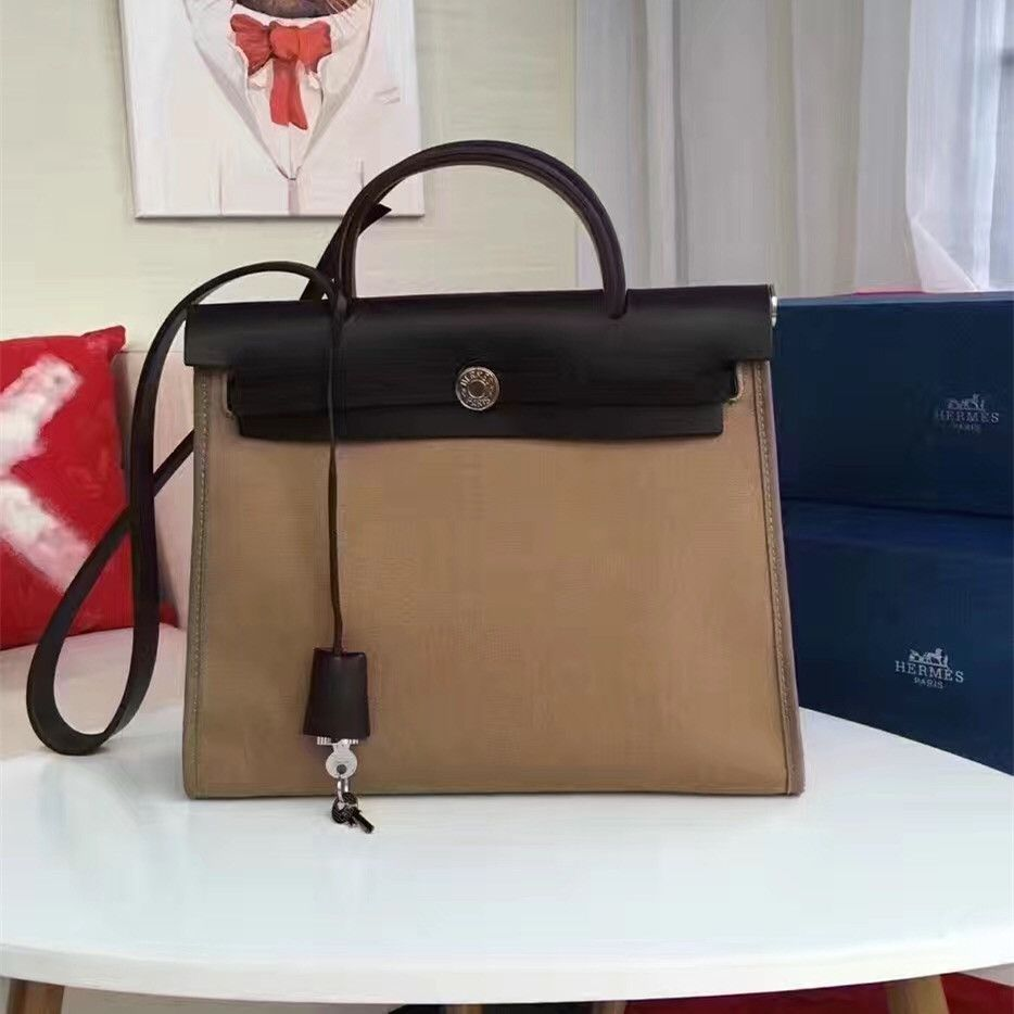 d098e7430ad Bi-color Women s Hermes Apricot Canvas Herbag Black Leather Wide Shoulder  Strap Totes Silver Snap Button
