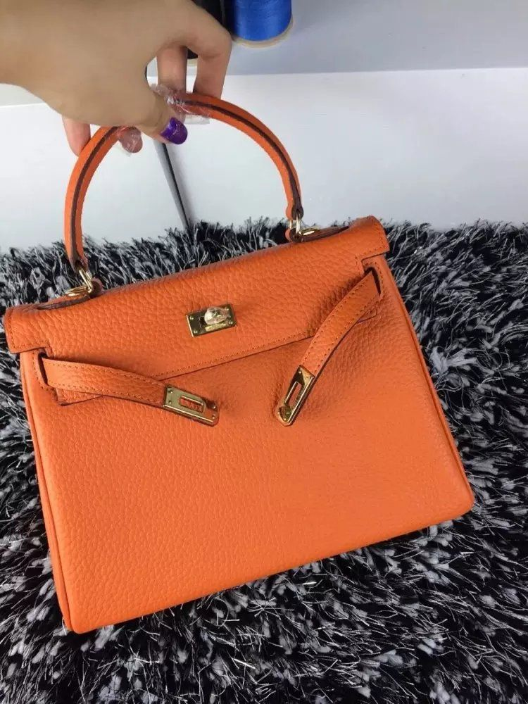 353567b5190d 2017 Summer Hermes Kelly Orange Togo Leather Flap Totes Golden Hardware  Flip-over Flap Replica