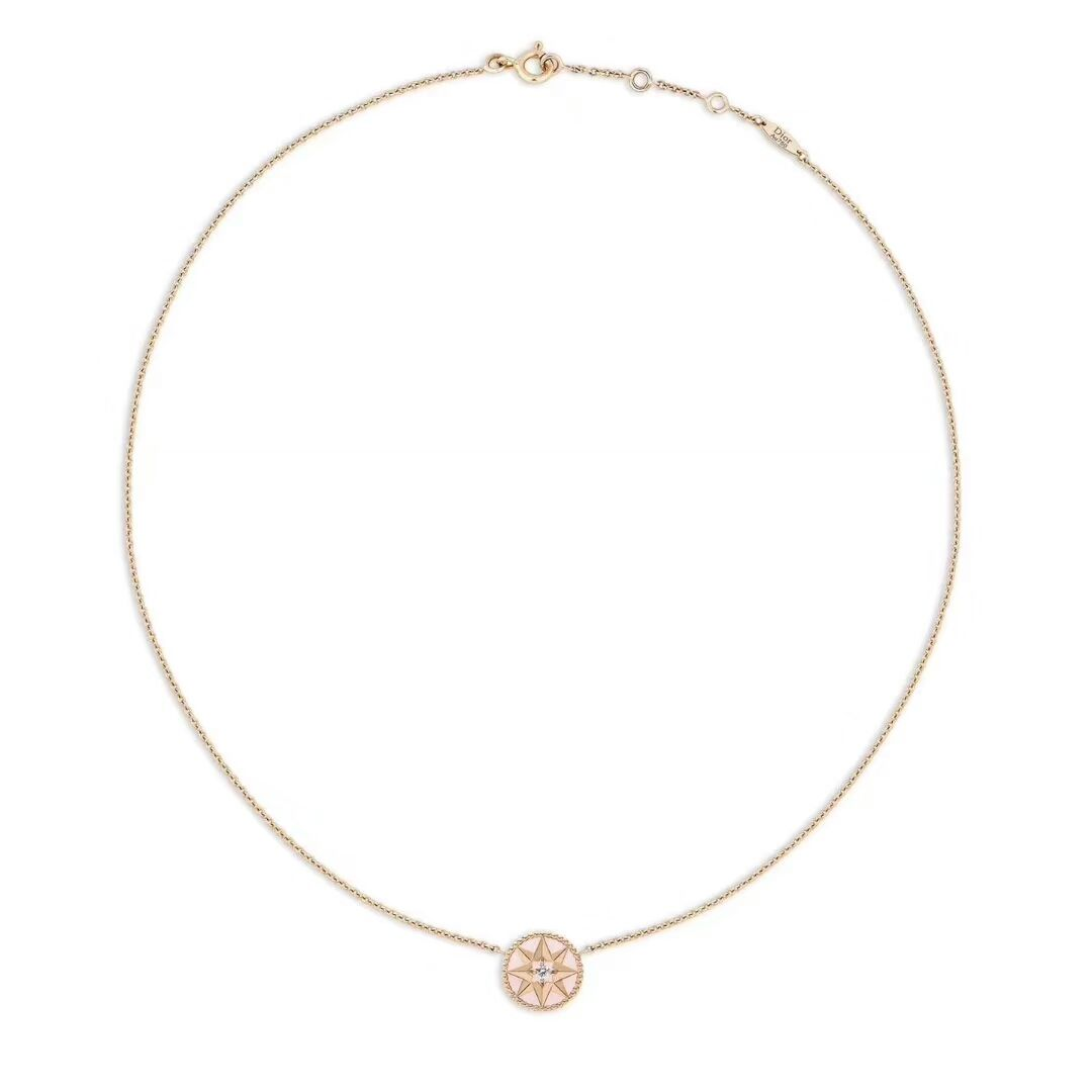 f868791953 2018 Reputable Christian Dior Rose Des Vents Necklace 18k-Pink Gold Diamond  And-Pink Opal/Turquoise Necklace JRDV95007_0000/JRDV95006_0000