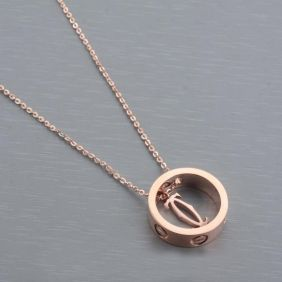a7b8f293721c5 Cartier Love Ring & Double C Motif Pendant Necklace Clone Yellow Gold With  Chain