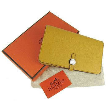 d220dfa01925 Cheapest Womens Claf Leather Hermes Long Dogon Wallet Removable Change  Purse Yellow For Sale