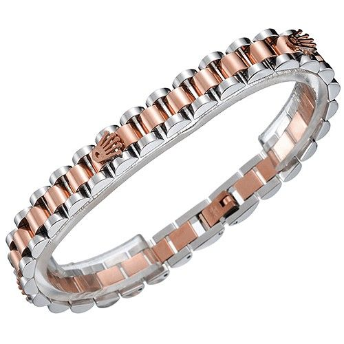 Rolex President Crown Logo Rose Gold And Stainless Steel Link Bracelet Business Style For Women