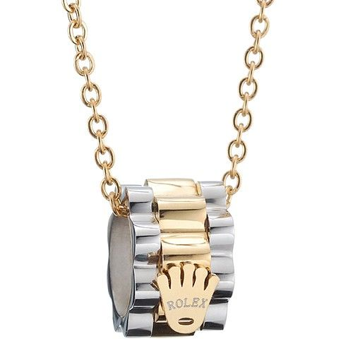 Rolex Silver And Gold Plated Two Tone Crown Flag Pendant Chain Necklace  Unisex For Sale