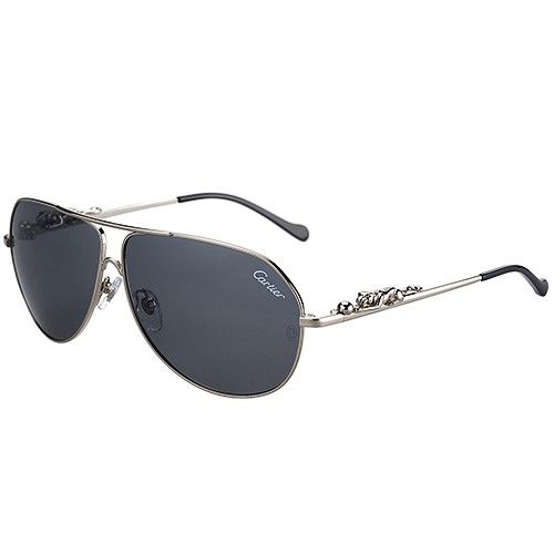 1cdb408e5b7f Panthere Wild De Cartier Aviator Grey Lenses Silver Temples With Panther  Signature Driving Men Sunglasses