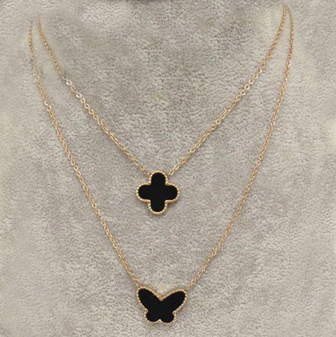 7b239c33b30a Replica Van Cleef   Arpels Lucky Alhambra Dual Chain Necklace Pink Gold  Black Clover   Butterfly Pearl Pendants UK