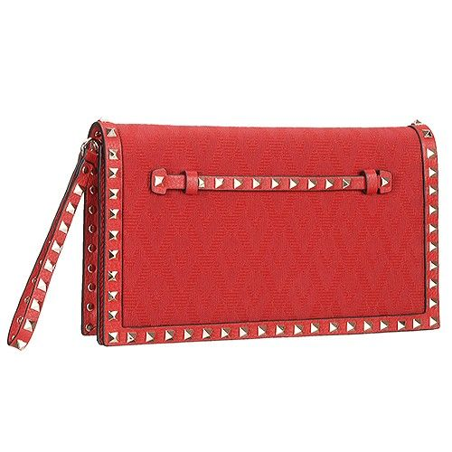 056ca6ebe Latest Valentino Garavani Rockstud Canvas & Leather Red Rivet Clutch For  Women