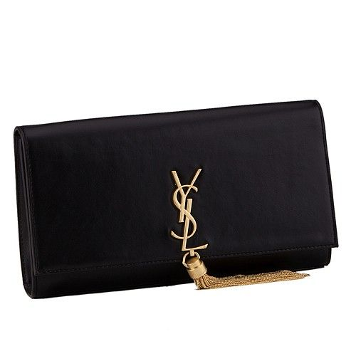 77d82c67b84ae Fake Saint Laurent Cassandre Women's Clutch YSL Logo Front Lambskin Leather  Black Tassel Bag 326080C150J1000