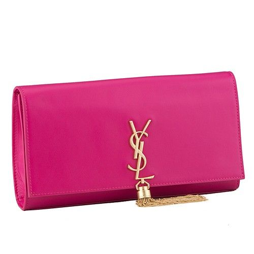 f89016312ef9 Women's Saint Laurent Cassandre Popular Lambskin Leather Clutch Bag Fuchsia  Tassel Golden YSL Front