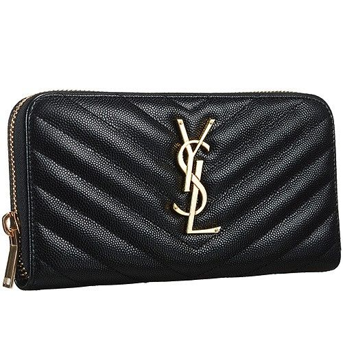 b657042b5f8b Hot Selling Saint Laurent Monogram Golden YSL Logo Front Zipper Wallet  Black Replica