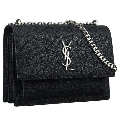 Est Saint Lau Sunset Shoulder Bag Silver Ysl Logo Front Black Medium Women 442906d420n1000