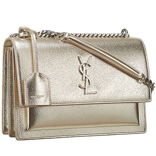 fe811db9ffd6 Saint Laurent Women s Sunset Metallic Gold Shoulder Bag Golden YSL Logo  Front Leather