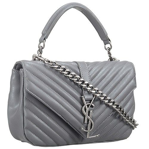 d609e23aae9b Best Replica Saint Laurent College Monogram Tote Bag V-Shaped Pattern Grey  Women s Crossbody Bag