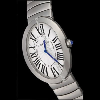 Cartier Baignoire W8000006 Quartz Oval Roman Face Stainless Steel Bracelet Lady 32mm Watch Rep